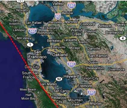 San Andreas Fault San Francisco Map Michigan Map - San andreas fault map