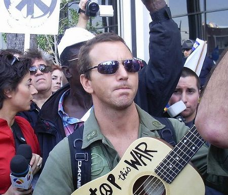 Eddie Vedder speaks at anti-war rally. Hollywood. March 2003