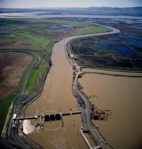 Suisun Marsh Salinity Control Gates near Collinsville. Credit: water.ca.gov