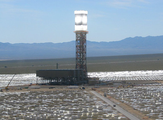 Ivanpah. One of the few new grid-scaler solar plants, in CA near Primm NV. Credit: ivanpahsolar.com