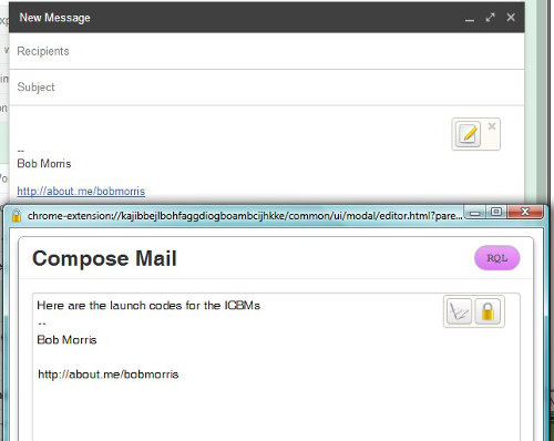Mailvelope Compose Mail window.  Bring this up by clicking the pencil icon in the Gmail New Message window.