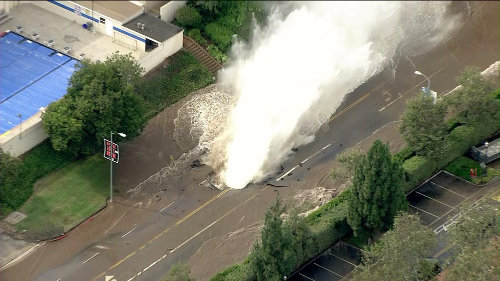 UCLA water main break on Sunset, one of the busiest surface streets in L.A. Credit: KTLA